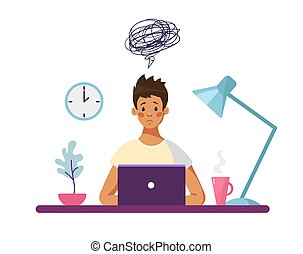 The guy sits at a desk with a computer and thinks about the difficulties encountered. Concept illustration, boy unhappy with school problems, professional burnout worker. Flat vector illustration.