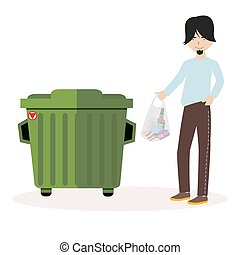 The guy throws the waste package into the garbage can. Flat character isolated on white background. Vector, illustration EPS10.