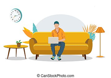 The guy with the laptop sits on the couch. Freelance or studying concept. Cute illustration in flat style. Distance learning at home