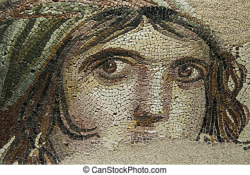 Museum Collection: Gaziantep Museum, Gaziantep, Turkey Type: Mosaic Context: Zeugma Date: C1st - C2nd AD Period: Imperial Roman This mosaic which was found during the zeugma excavations sin1992 long before Zeugma became a current issue, became the symbol of Zeugma because of the mysterious look she ...