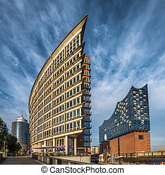 The Hafen City quarter and Elbe Philharmonic Hall in...
