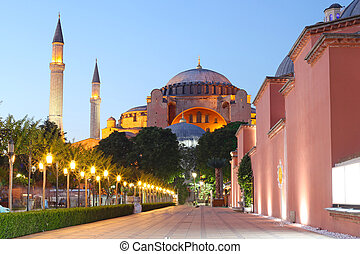 The Hagia Sophia at night, Istanbul, Turkey