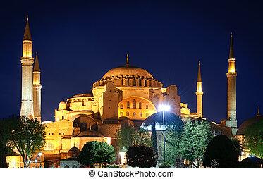 Hagia Sophia at night