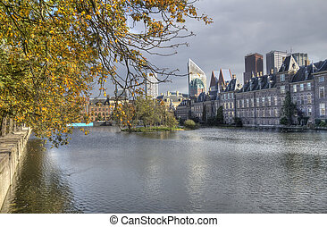 Government and parliament buildings in autumn in The Hague, Holland
