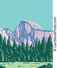 The Half Dome at the Eastern End of Yosemite Valley in Yosemite National Park California WPA Poster Art