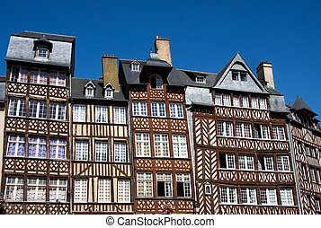 Rennes - The half-timbered buildings of historic Rennes,...