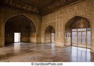 The hall of the Khas Mahal, inside of Red Fort - Agra, Uttar Pradesh, India