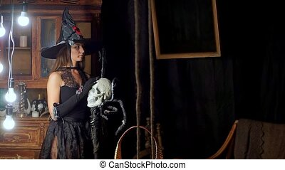 The Halloween witch is to stick out of the skull and looking...