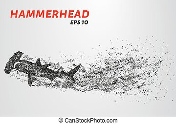 The hammerhead shark from the particles. Fish hammer consists of small circles.