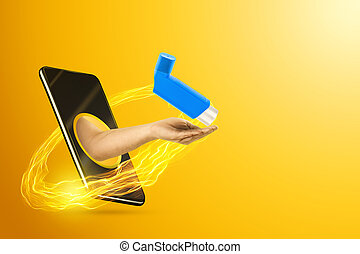 The hand crawling out of the smartphone screen holds an asthma inhaler, yellow background. Concept of drug delivery, order drugs online, delivery of medical services. Copy space.