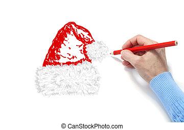 The hand draws a fur-cap