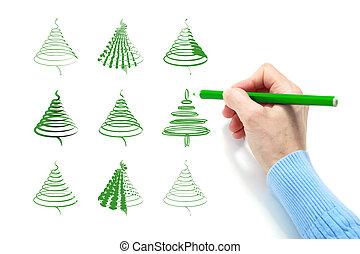 The hand draws a green fir
