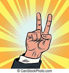The hand gesture of victory. Pop art vintage retro cartoon...