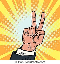 The hand gesture of victory. Pop art vintage retro cartoon...