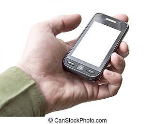 The hand holding a cell phone touchscreen. White background...