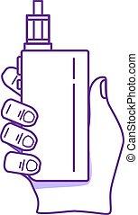 The hand holding electronic cigarette or vape device. Vape concept.