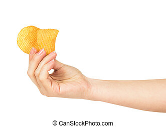 the hand holds a couple of potato chips isolated on white background