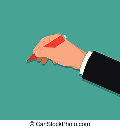 The hand holds a pen.