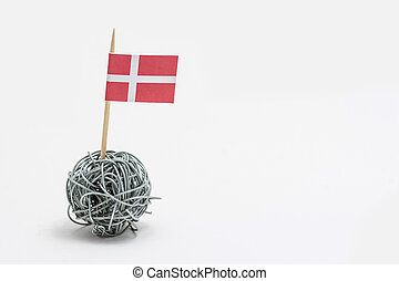 The hand made flag of the Denmark on wire ball