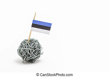 The hand made flag of the Estonia on wire ball