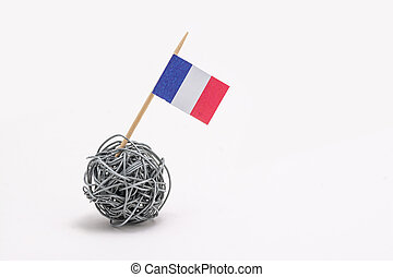 The hand made flag of the France on wire ball with copy ...