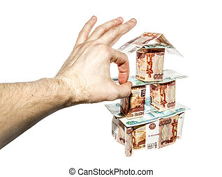 The hand makes a click on House of banknotes