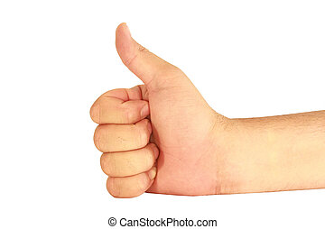 The hand man on a white background