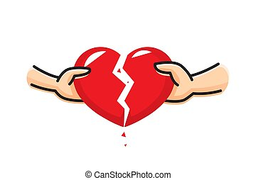 The hand of a man and the hand of a woman break the heart. Breakup heart concept. Crisis relationship divorce. Unhappy love, conflict. Vector illustration.