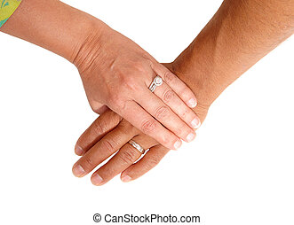 The hand of a man and woman.