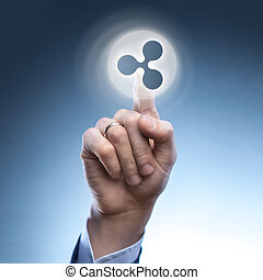 the hand of a man touches a ripple icon