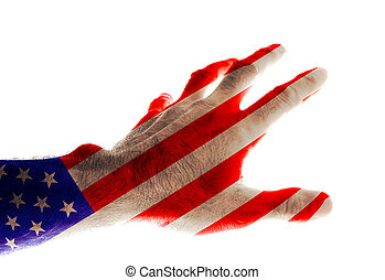 The hand of a mature man painted in the colors of the US flag stretches forward with his fingers spread Image dedicated to the US national holiday - Independence Day July 4 Isolated on white