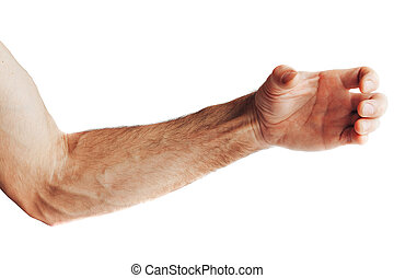 The hand of a mature man takes something