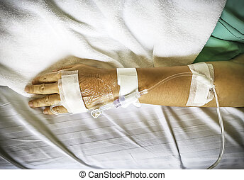 The hand of a patient