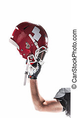 The hand of american football player with helmet on white background
