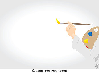 The hand of the artist with a brush draws on a canvas. A vector illustration