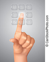 The hand on the flow of several button. Solution concept....