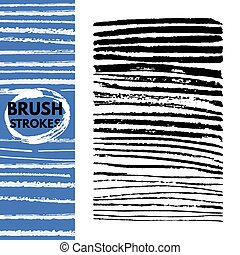 The hand painted brush strokes isolated on white background.