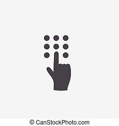The hand press the button icon
