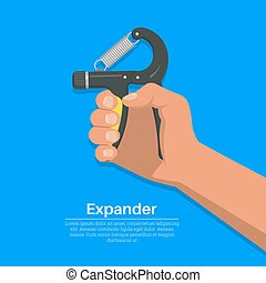 The hand squeezes a carpal spring expander.Concept of a...