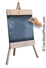 The Hand That Catches Chalk Is Preparing To Write the Alphabet On Wooden Sidewalk Sign With Blank Black Menu Board Isolated On White Background.