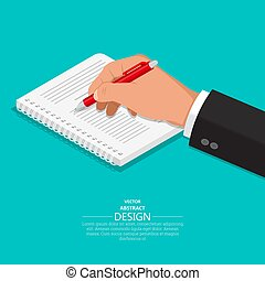 The hand with a pen writes on a notebook.3D style. A vector...