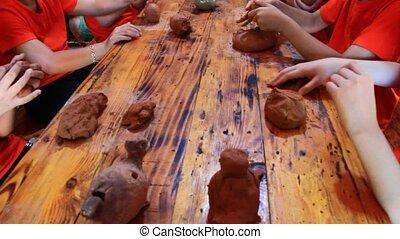 The handmade pottery in Vietnam