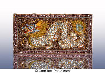 The Handmade woven fabrics of dragon in thai