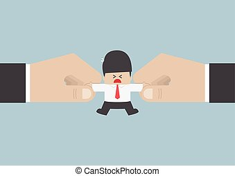 The hands are fighting for important businessman