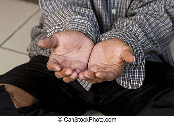 The hands of a beggar - the hands of a beggar in an old...
