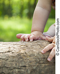 The hands of a small child.