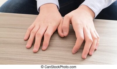 The hands of teenager who pulls the fingernails - The hands...