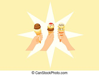 The hands of three women are holding up ice cream. With a white star as the background