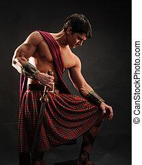 The handsome gladiator man