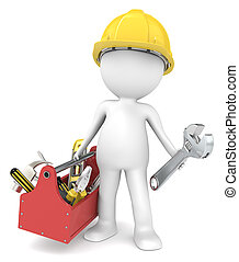 The Handyman. - 3D little human character The Builder with a...